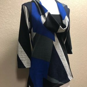 Wrapper colorblock black blue white cowl sweater L